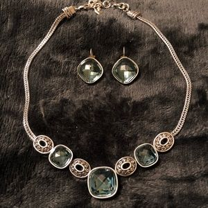 Brighton blue and silver necklace and earrings set
